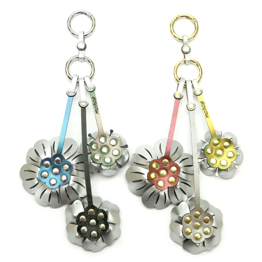Large Flower Purse Charms made from hand riveted vegan leather