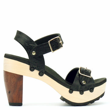 High Heel Buckle Toe Ankle in Midnight