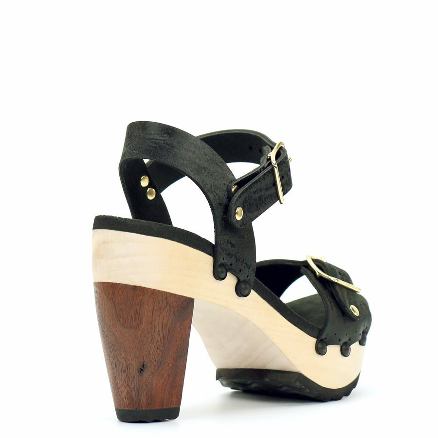 High Heel Buckle Toe Ankle in Midnight - Mohop