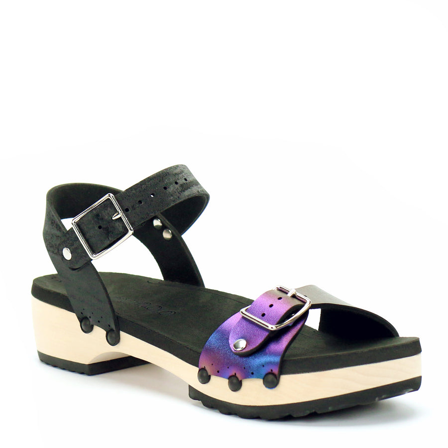 Low Clog with Black Ankle Strap and Blue Iridescent Buckle Toe