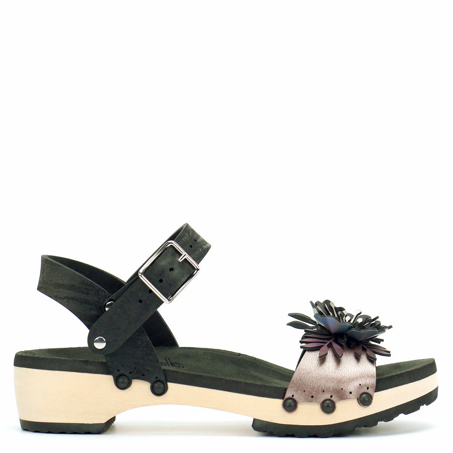 Low Clog with Black Ankle Strap and Rose Flower Toe