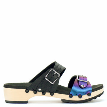 Low Clog Buckle Toe Mule in Peacock and Midnight