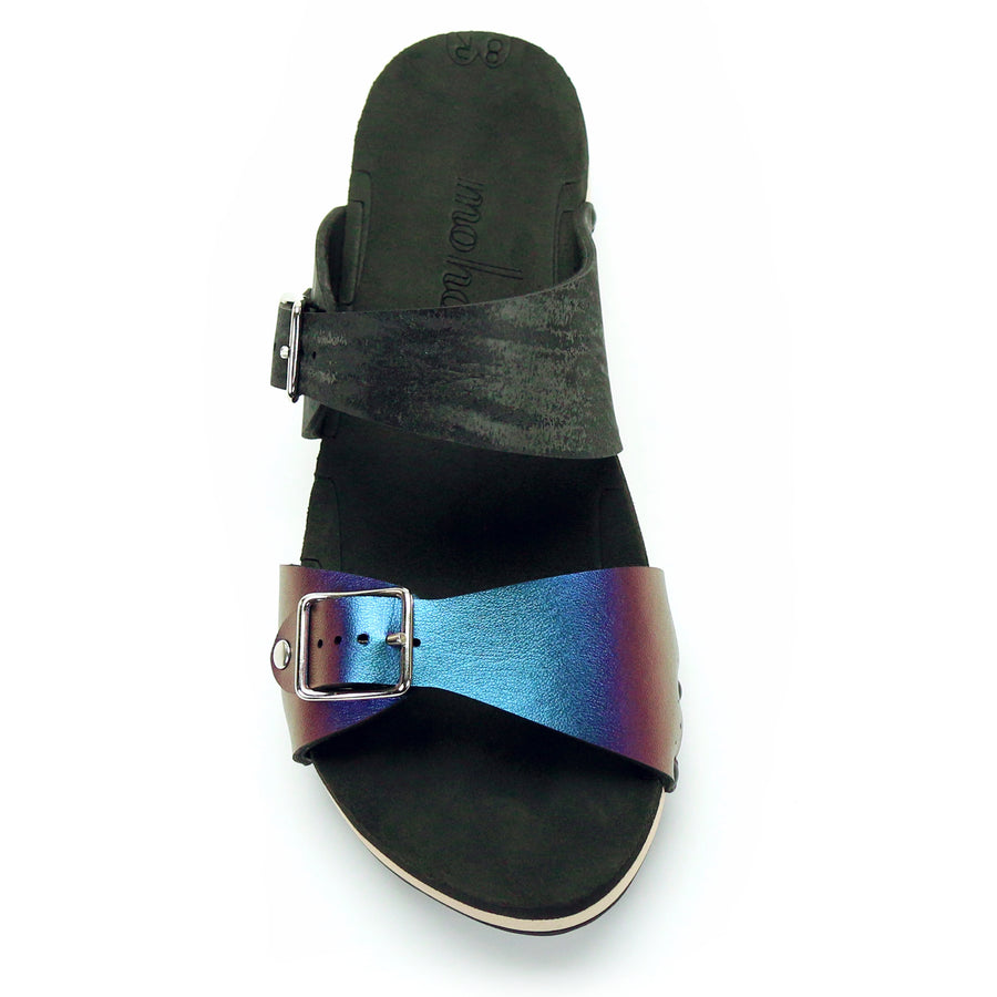 Low Clog with Black Mule Strap and Blue Iridescent Buckle Toe