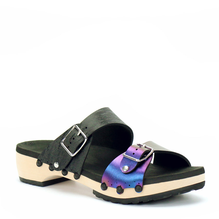 Low Clog Buckle Toe Mule in Peacock and Midnight - Mohop