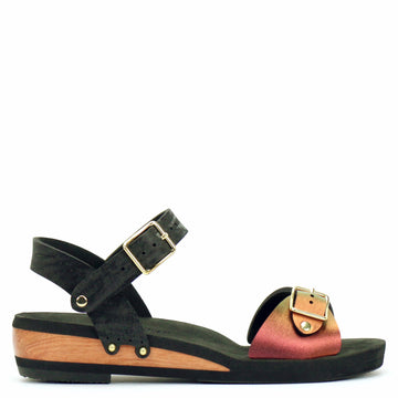 Low Wedge Buckle Toe Ankle in Ruby and Midnight