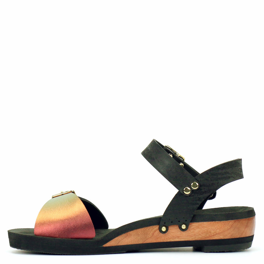 Low Wedge Sandal with Black Ankle Strap and Red Iridescent Buckle Toe