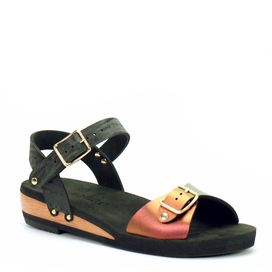 Low Wedge Buckle Toe Ankle in Ruby and Midnight - Mohop