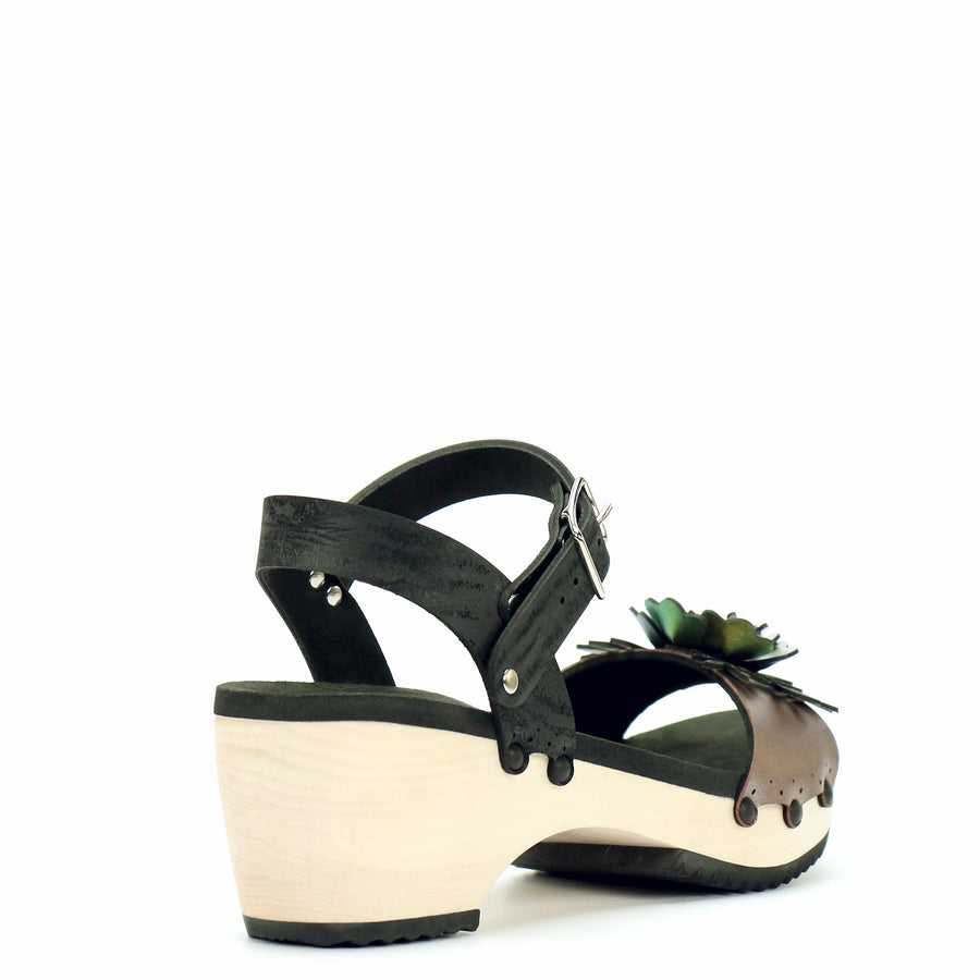 Mid Clog with Black Ankle Strap and Rose Flower Toe