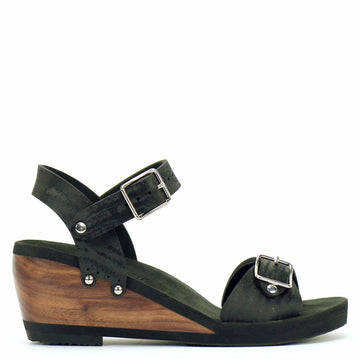 Mid Wedge Sandal with Black Ankle Strap and Buckle Toe