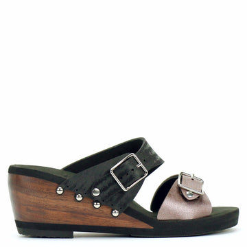 Mid Wedge Sandal with Black Mule Strap and Rose Buckle Toe