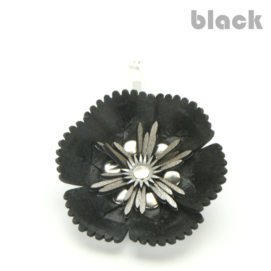 Vegan Leather Black Flower Barrette