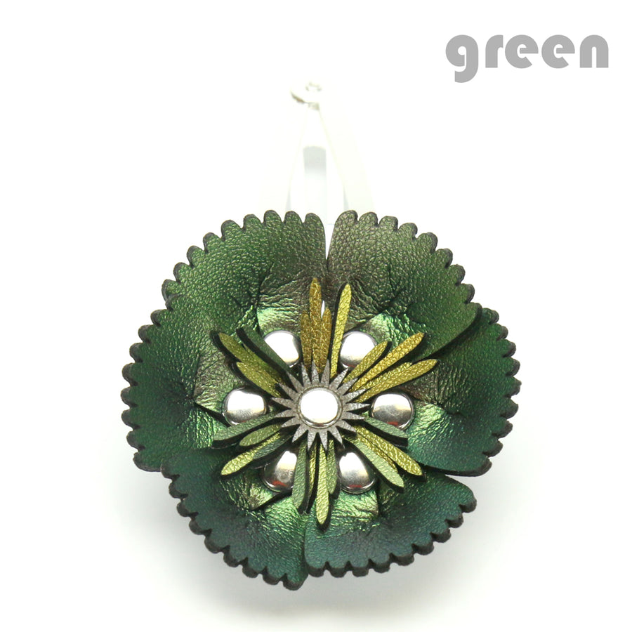 Vegan Leather Green Flower Barrette