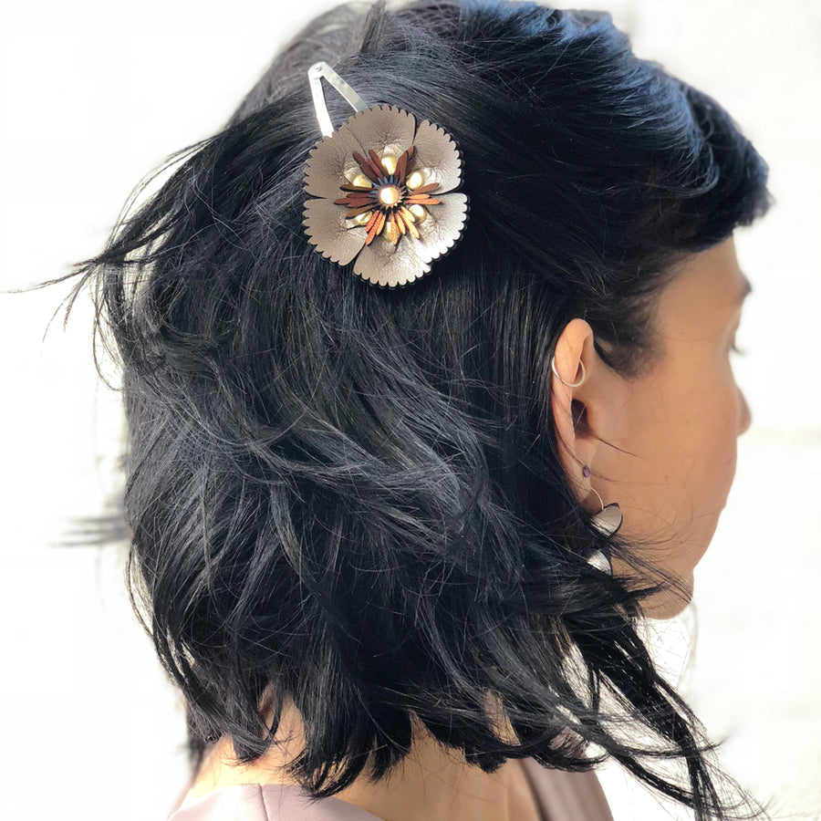 Silver flower barrette