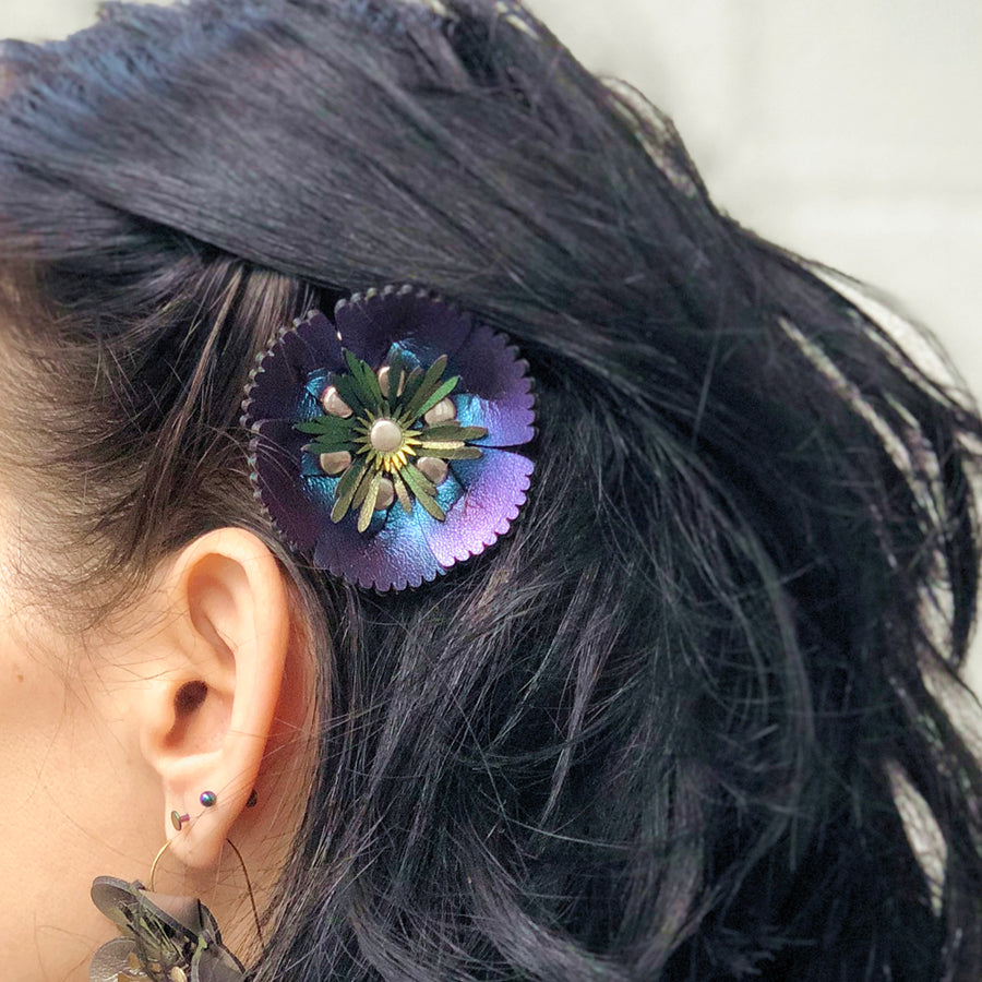 Blue flower barrette