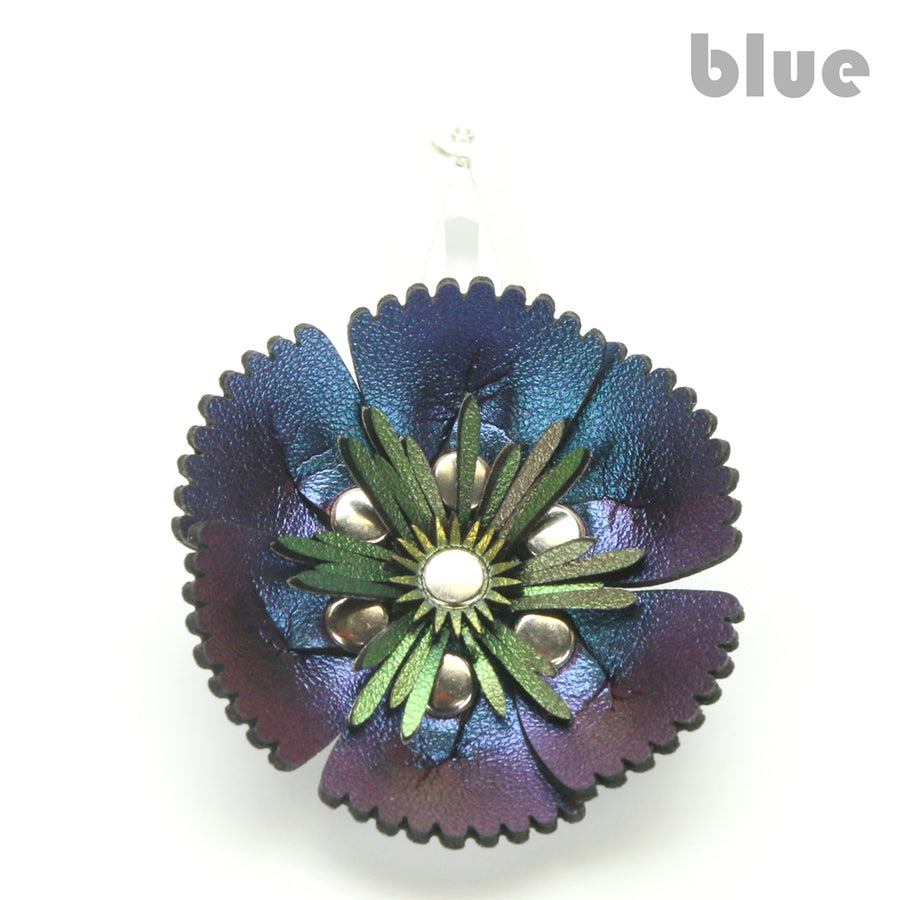 Vegan Leather Blue Flower Barrette
