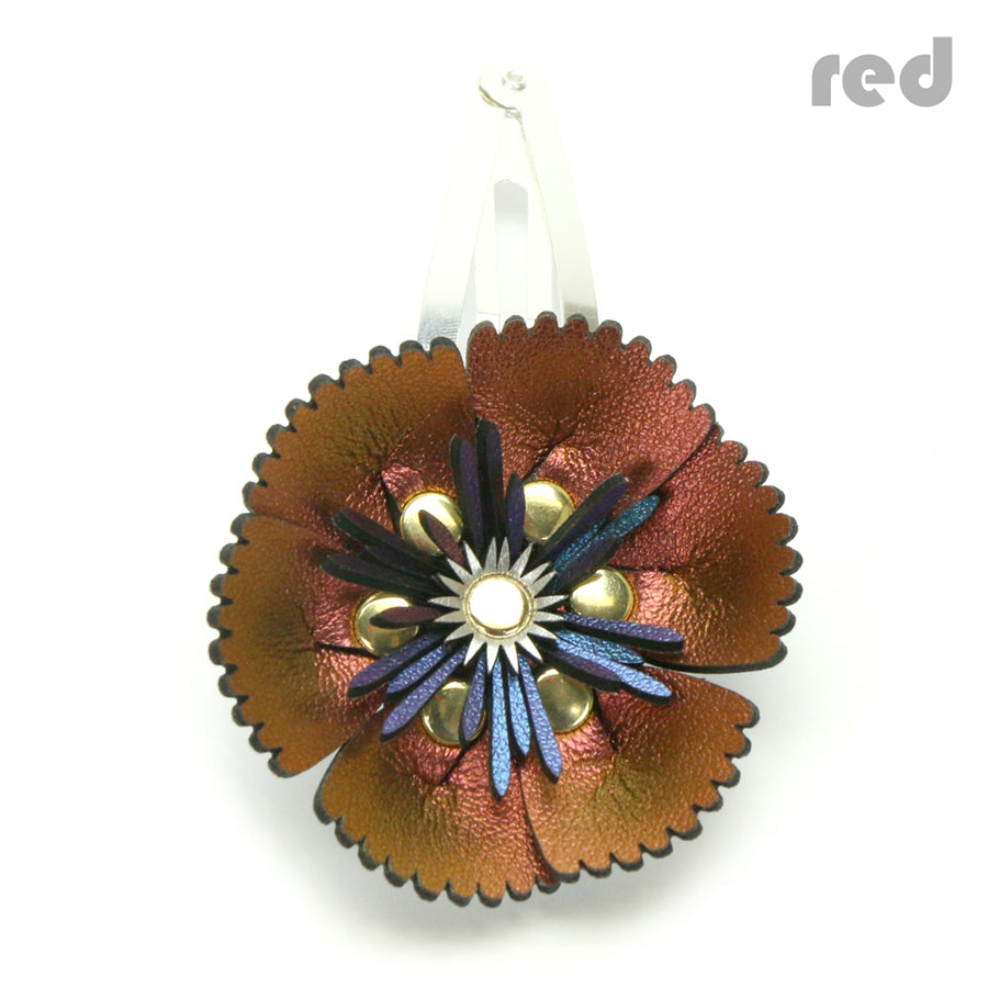 Vegan Leather Red Flower Barrette