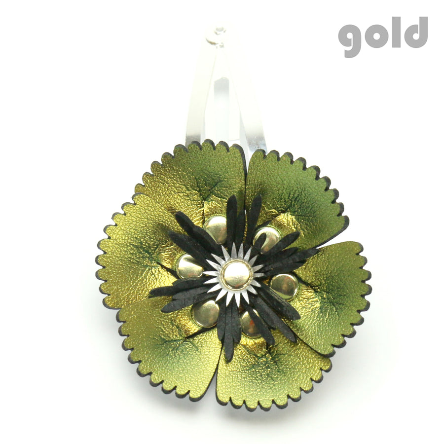 Vegan Leather Gold Flower Barrette