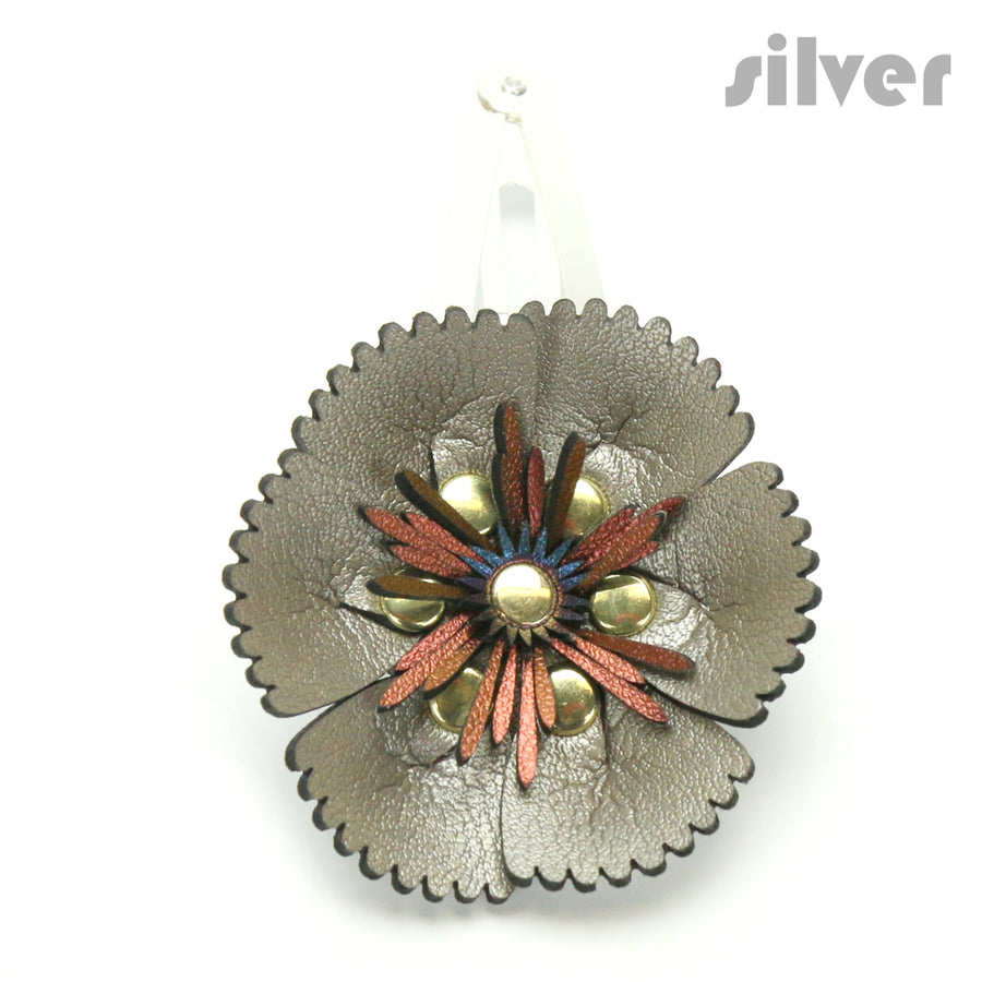 Vegan Leather Silver Flower Barrette