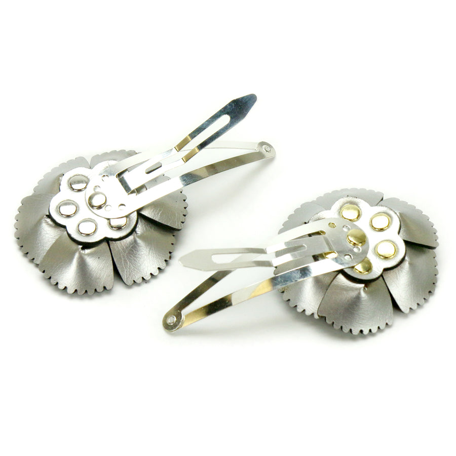 hand riveted flower barrettes