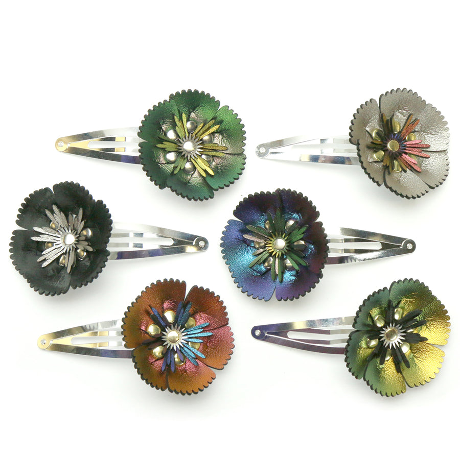 iridescent vegan leather flower barrettes