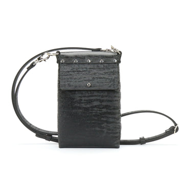 Black Chinchilla vegan leather mobile crossbody bag