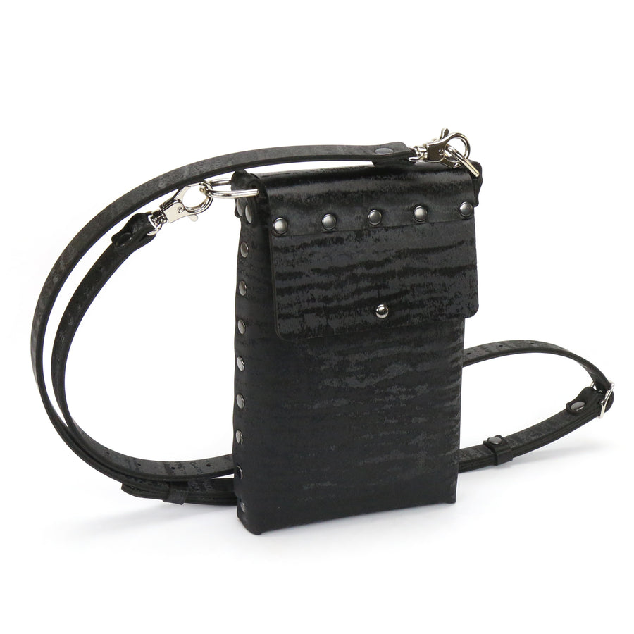 Black Chinchilla vegan leather mobile bag with adjustable crossbody strap