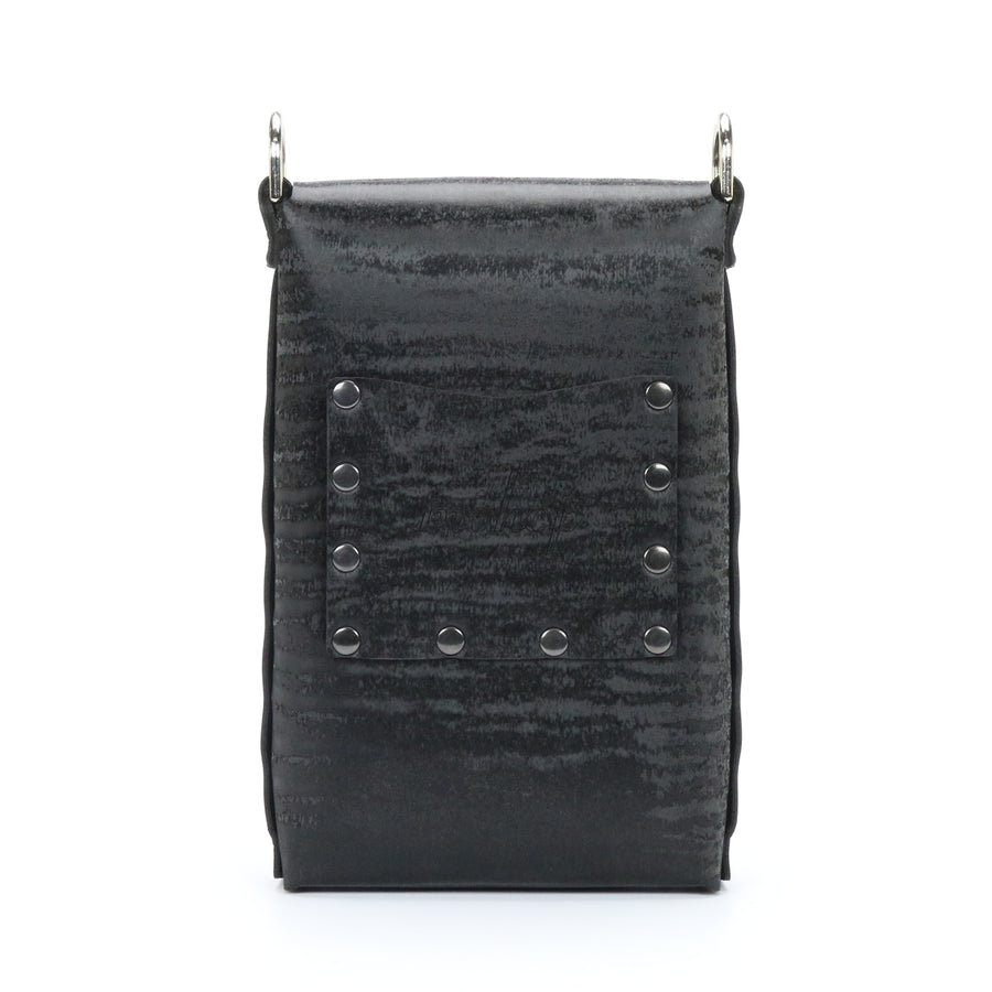 Black Chinchilla vegan leather mobile crossbody bag with exterior pocket