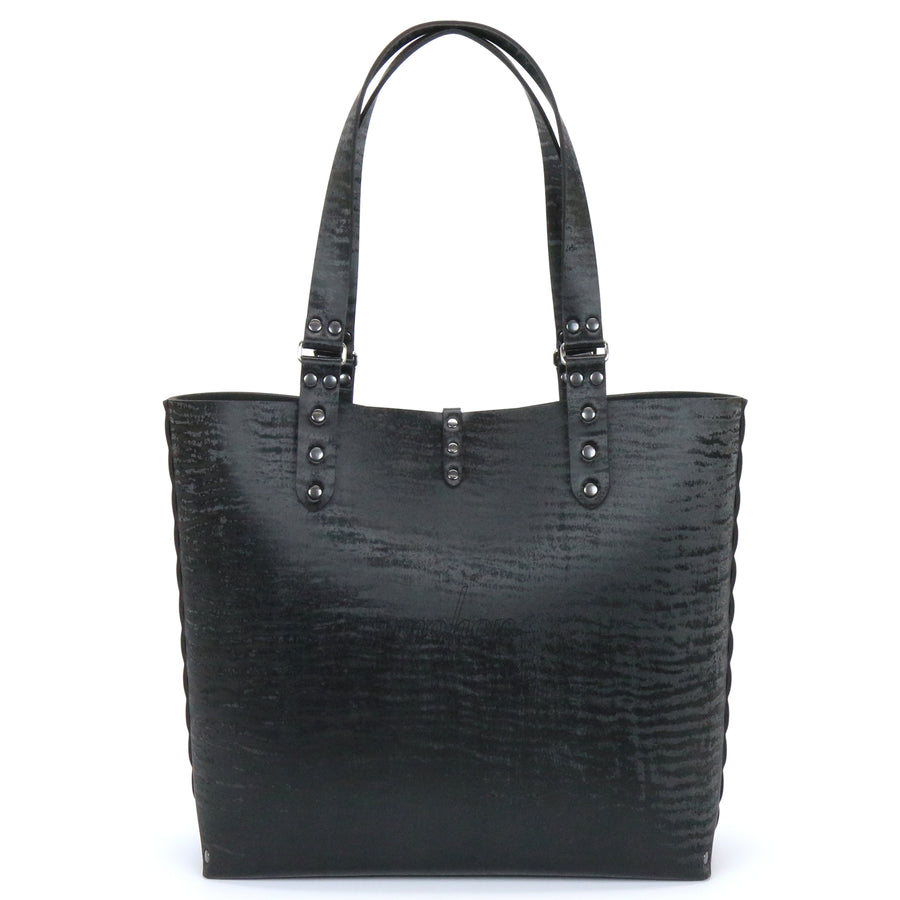 Black Chinchilla vegan leather tote bag made in USA