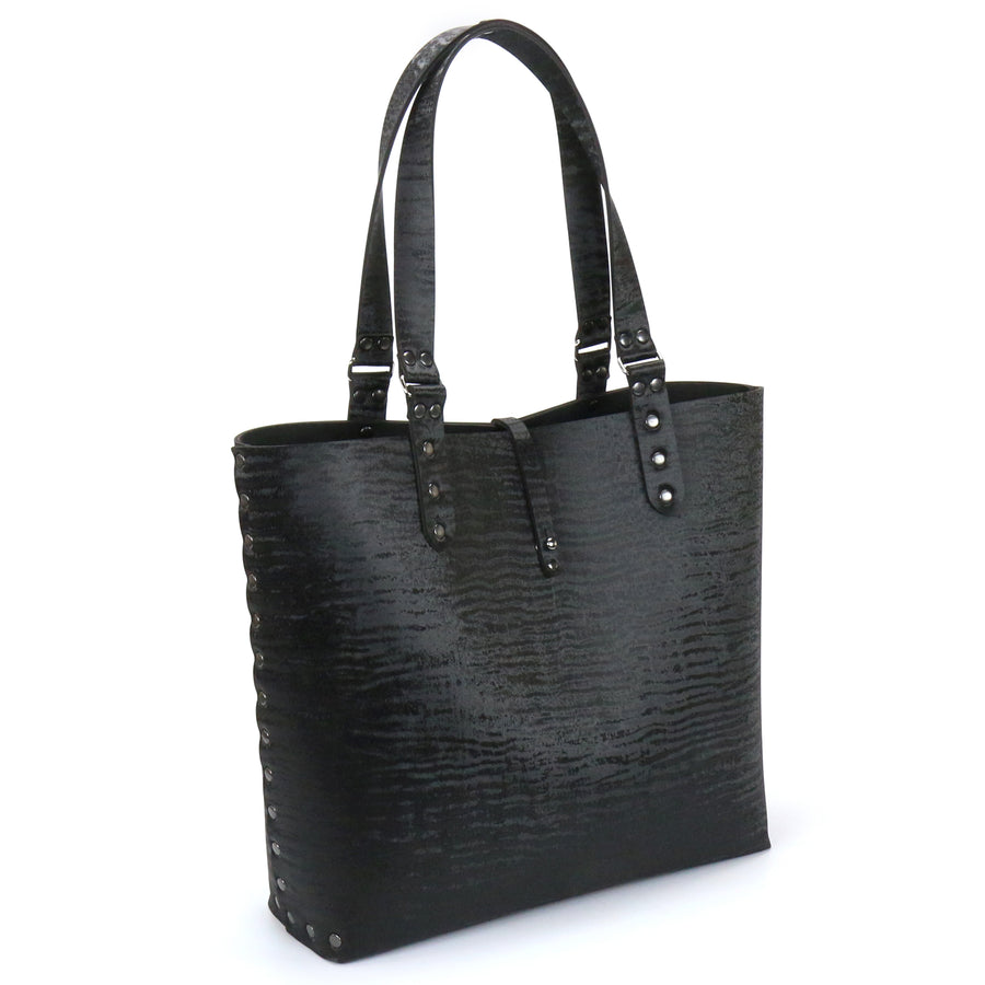 Black Chinchilla vegan leather tote bag