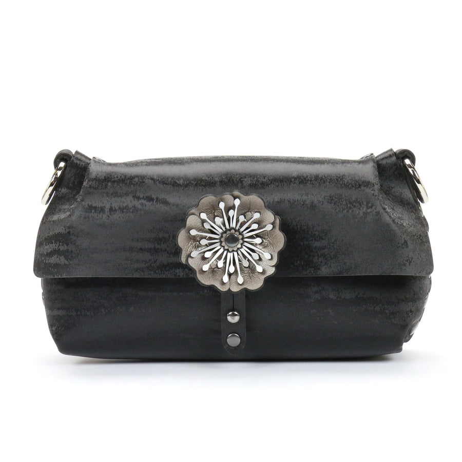 Black Chinchilla vegan leather flower wristlet with removable strap