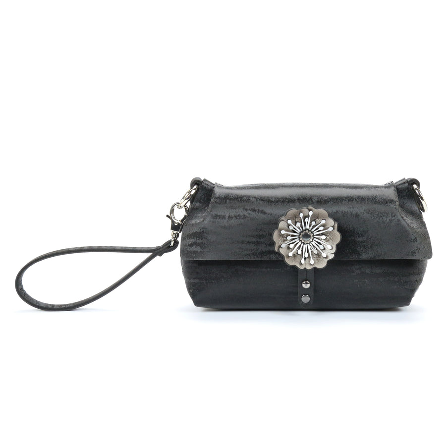 Black chinchilla vegan leather flower wristlet by Mohop