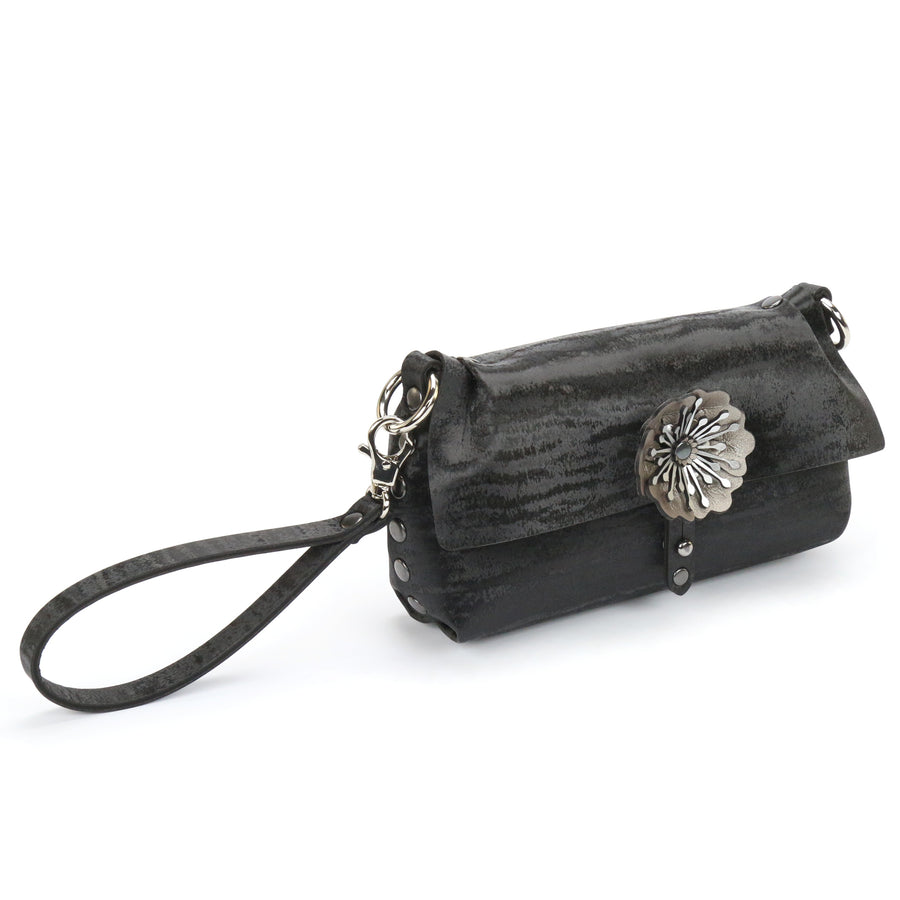 Black Chinchilla vegan leather flower wristlet