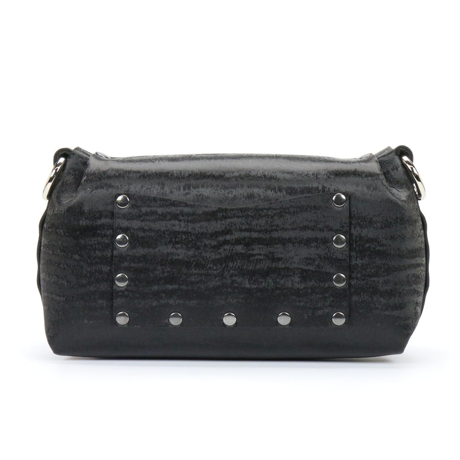Black Chinchilla vegan leather wristlet with exterior pocket