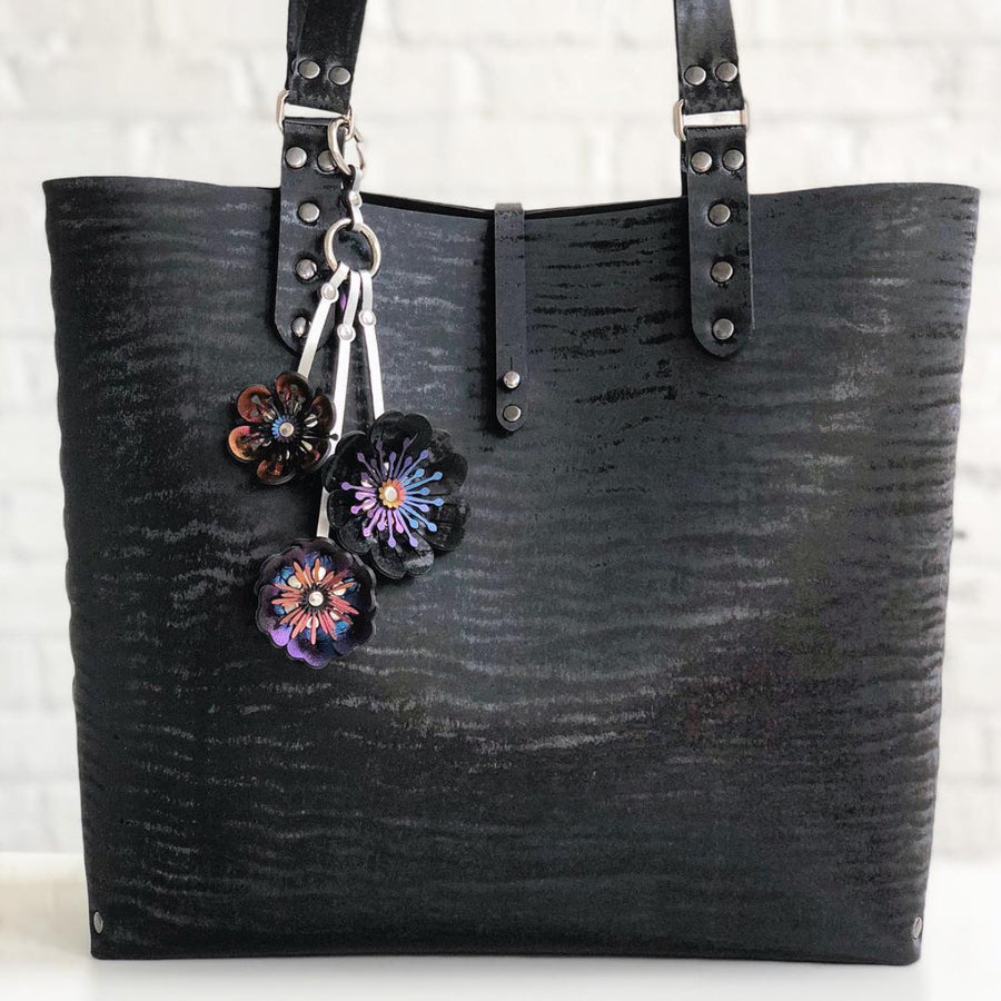 Black Chinchilla vegan leather tote bag with flower purse charm