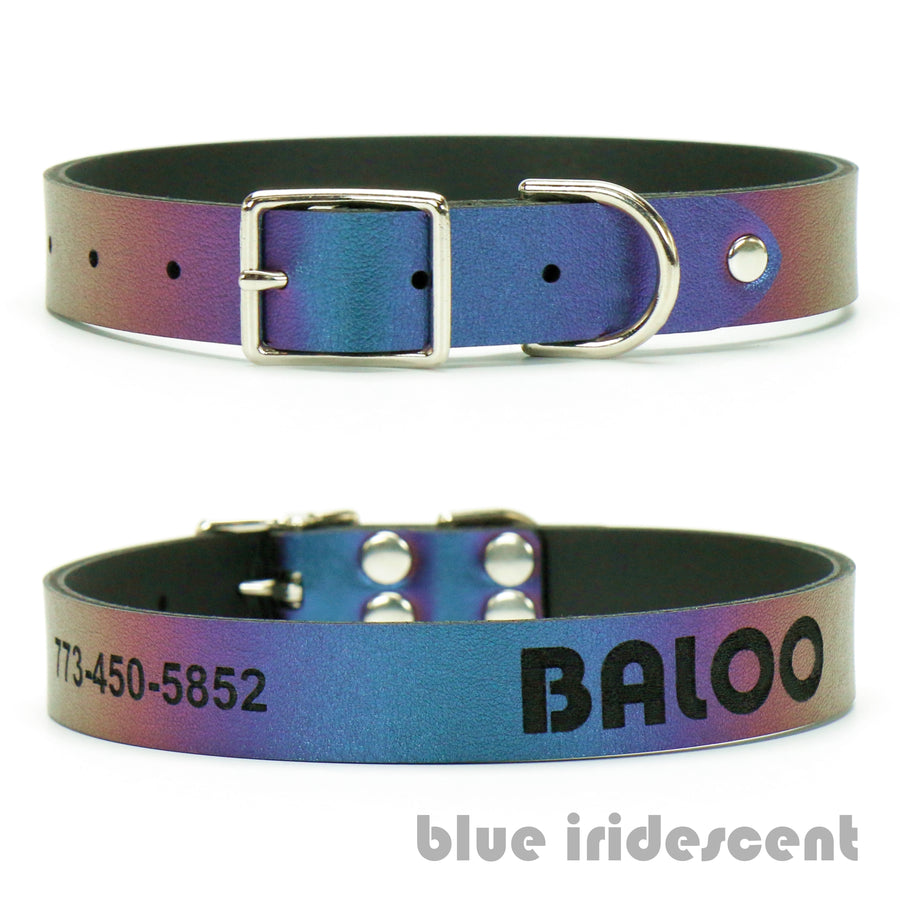 Blue Iridescent vegan leather custom dog collar