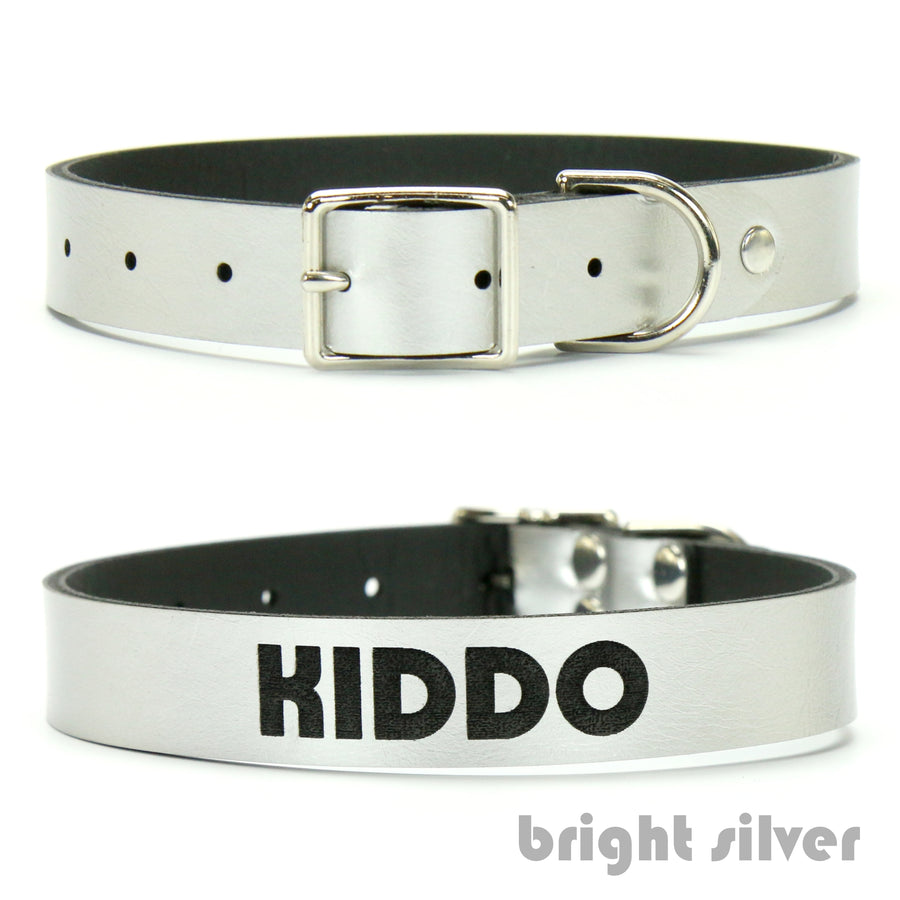 Bright Silver vegan leather custom dog collar