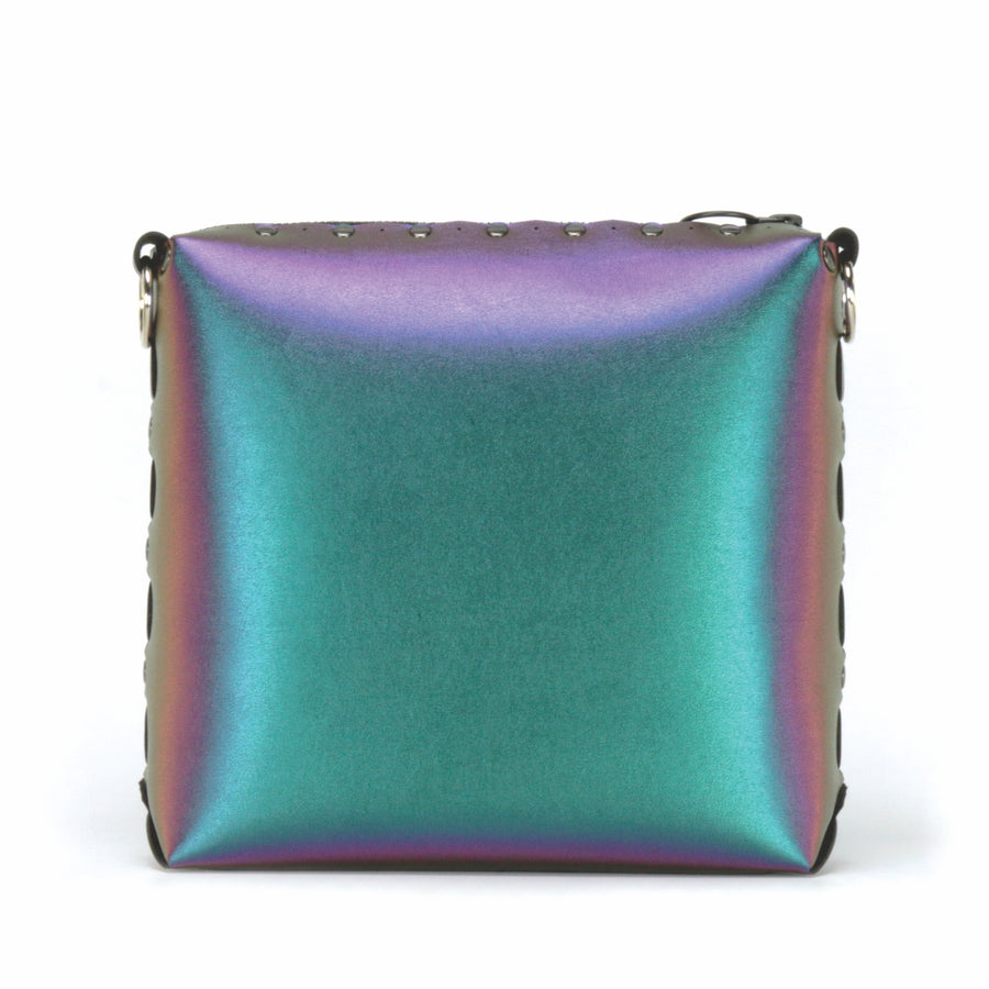 Front view of chameleon medium crossbody bag without strap
