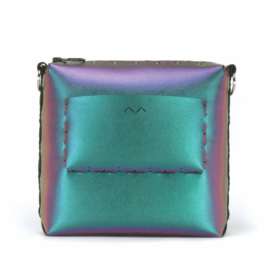 Rear view of chameleon medium crossbody bag