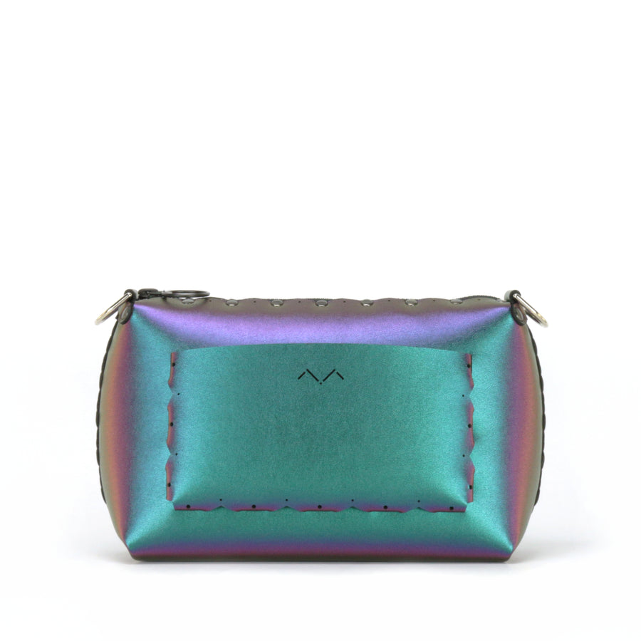 Rear view of chameleon small crossbody bag