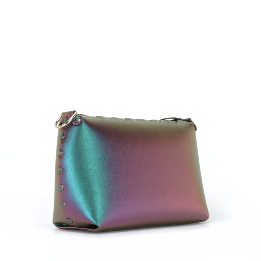 Front side view of chameleon small crossbody bag