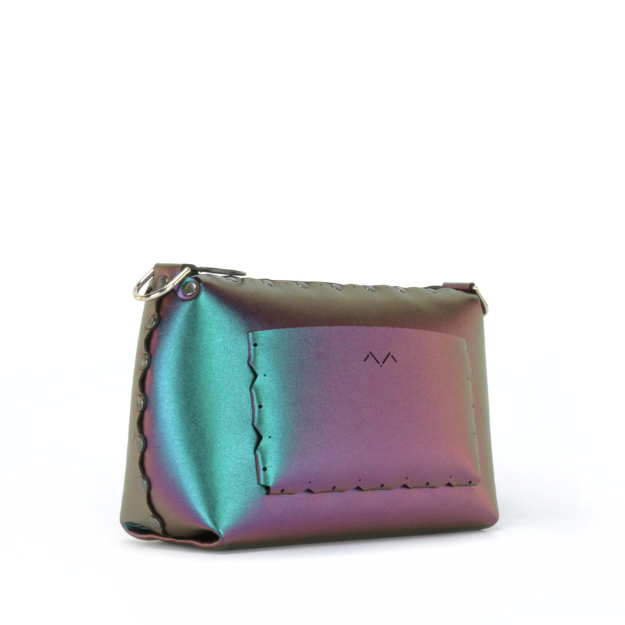 Rear side view of chameleon small crossbody bag