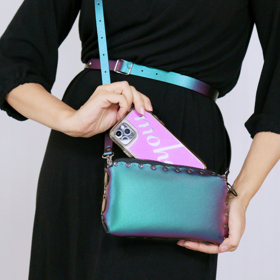 model wearing chameleon wallet bag with crossbody strap upgrade