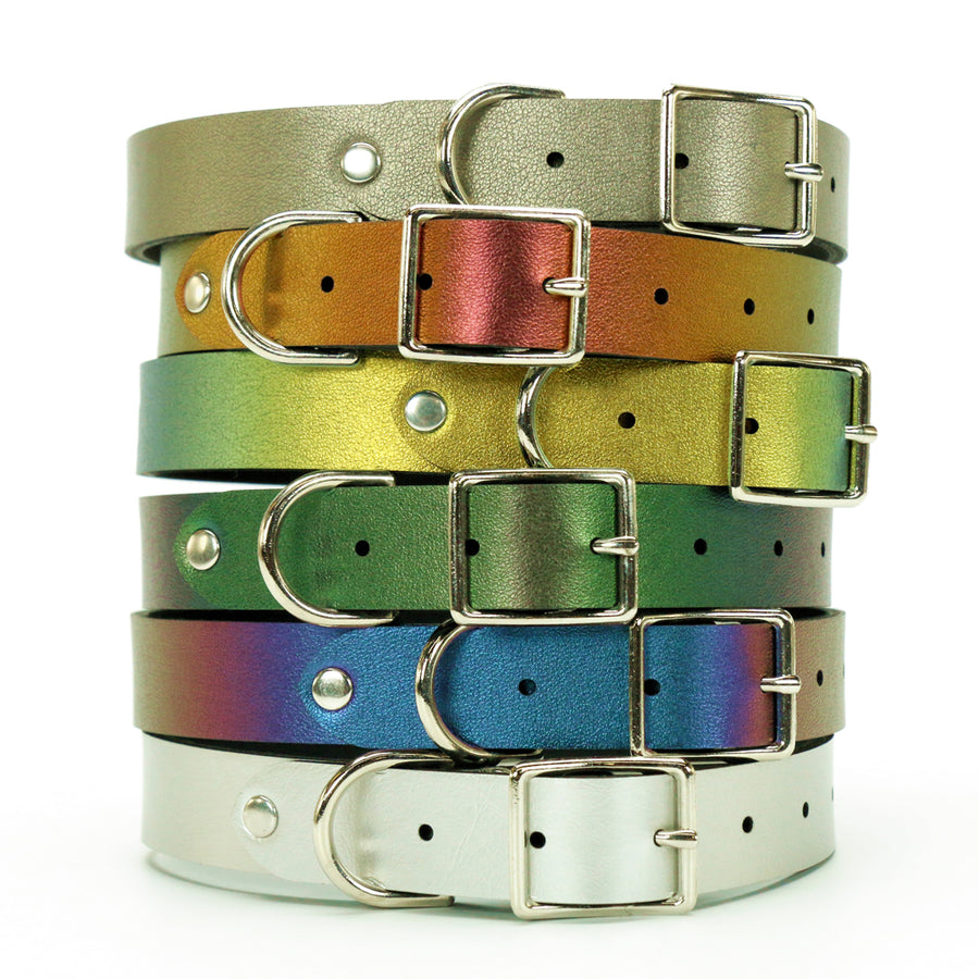 Customizable vegan leather dog collars by Mohop