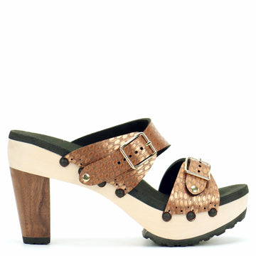 High Heel Buckle Toe Mule in Copper - Mohop