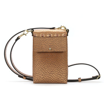 Copper vegan leather mobile crossbody bag by Mohop