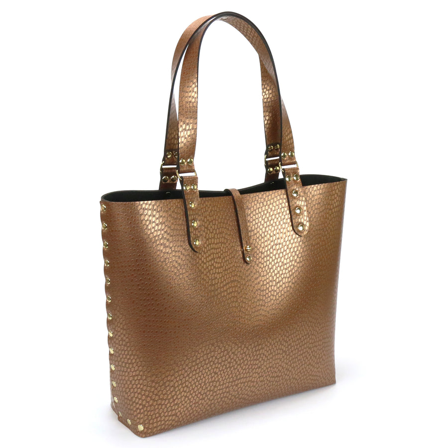 Copper vegan leather tote bag made in USA by Mohop