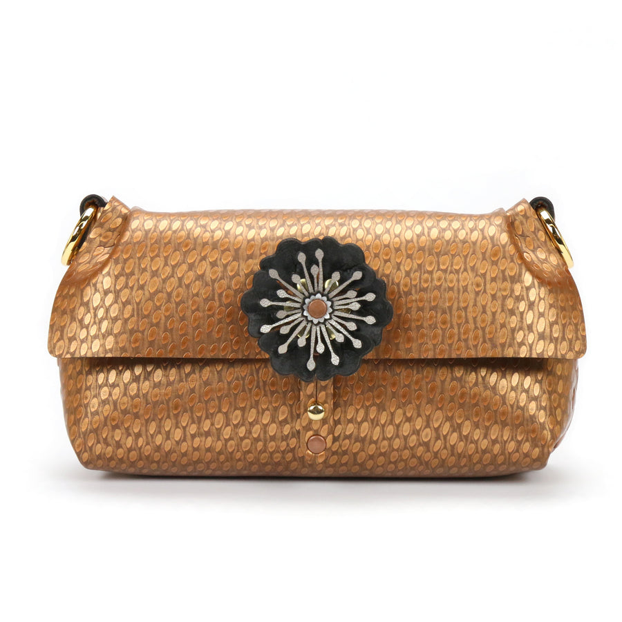 Copper Vegan Leather Flower Wristlet with Removable Strap