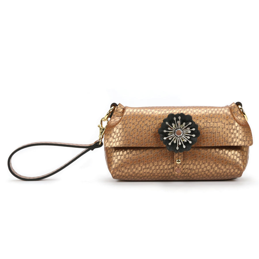Copper vegan leather flower wristlet made in USA by Mohop
