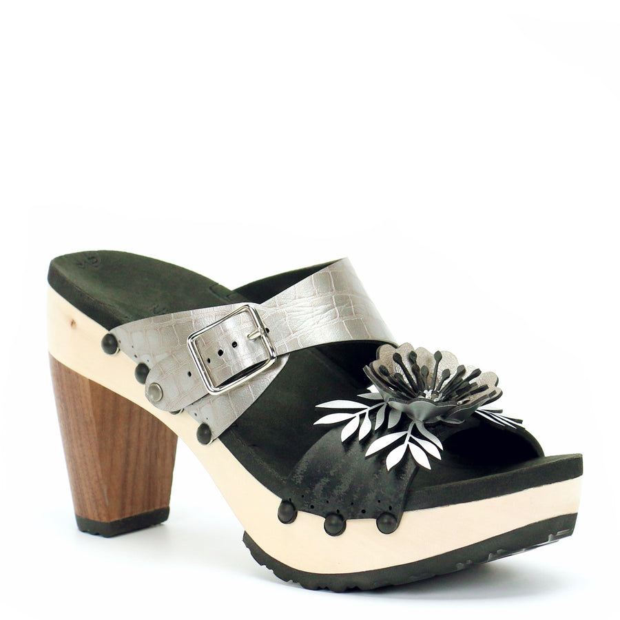 High Heel Flower Toe Mule in Midnight and Croc - Mohop