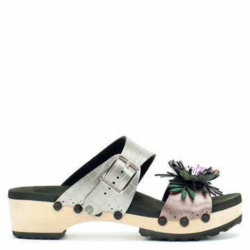 Low Clog with Silver Crocodile Mule Strap and Rose Flower Toe